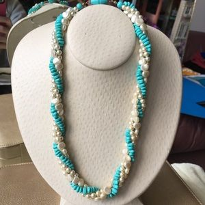 Jewelry - Vintage Twisted Pearl Turquoise Statement Necklace